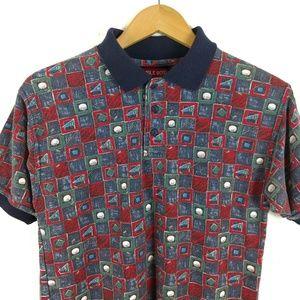 Vtg Bugle Boy Golf Checkerboard 90s Polo Shirt